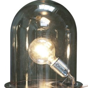 Ebb & Flow Glow in a dome medium bordlampe – Smokey grey, brass