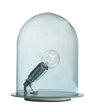 Ebb & Flow Glow in a dome small bordlampe – Deep blue, brass