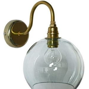 Ebb & Flow Rowan transparent vegglampe – Transparent, brass