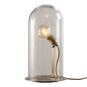 Ebb & Flow Speak up dome medium transparent bordlampe – Brass