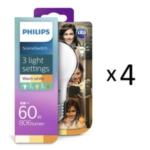 Philips LED SceneSwitch E27 60W 4stk