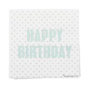 "Bloomingville Serviett Hvit ""Happy Birthday"" Papir 33x33cm 20-pakk"