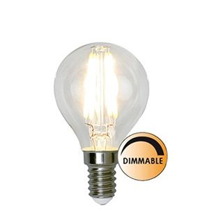 Globen Lighting Lyskilde LED Filament Klot Klar 3,2W Dimbar E14