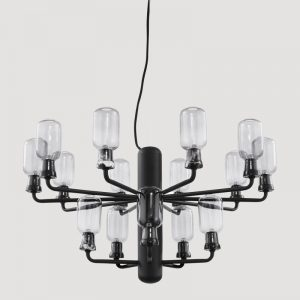 Amp Chandelier Small, Smoke & Black