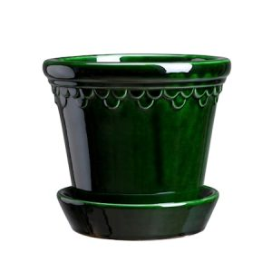 Copenhagen Potte med fat Glazed Green Emerald 14 cm