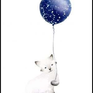 Cat With Balloon Plakat