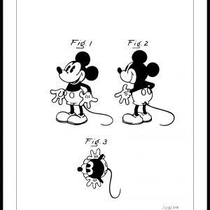 Patenttegning - Disney - Mickey Mouse - Poster Plakat