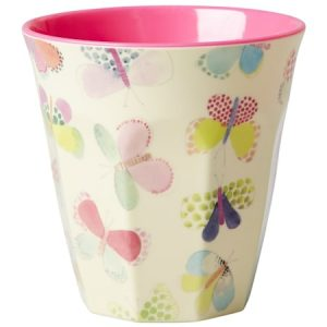 Melamine Cup with Butterfly Print – Two Tone – Medium