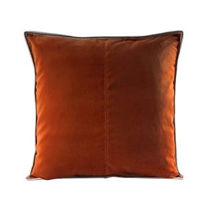 Putevar Cognac Striped Edge Velvet 50 x 50 cm