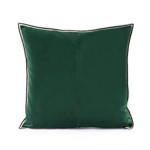 Putevar Dark Green Striped Edge Velvet 50 x 50 cm