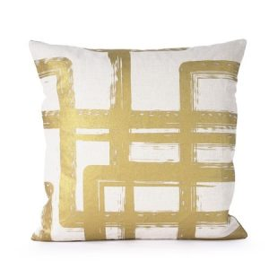 Putevar White/Gold Graphic Brush Linen 50 x 50 cm