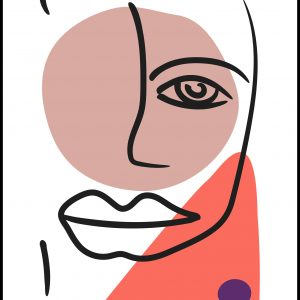 Abstract Face - Red II Plakat