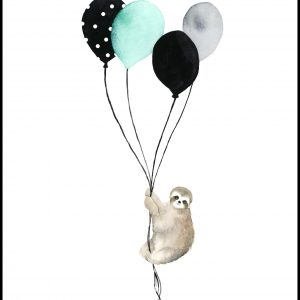 Sloth With Balloons Plakat